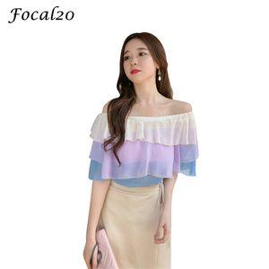 Focal20 Streetwear Хит Цвет Оборками Женщины Блузка Рубашка С Плеча С Коротким Рукавом Слэш Шеи Женская Блузка Топ