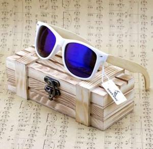 Bobo Sun Wood Conducción Gafas de sol Recubiertas CG007 Caja Caja de mujer Y Titular Marca de lujo con madera Bambú Polarized Bird Glases Hombres DHRFW