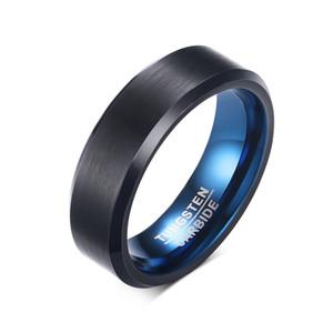 6mm deux tons plaqué anneau de carbure de tungstène noir bleu brossé bord biseauté mens femmes bande de fiançailles
