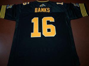 Spedizione gratuita Uomini Hamilton Tiger-Cats # 16 Brandon Banks reale Completo ricamo College Jersey Taglia S-4XL o personalizzato qualsiasi nome o numero maglia