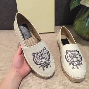 2020 Hot Sell Womens Low-Top Tiger Paris Espadrilles Fisherman Shoe Casual Sneakers Canvas Sheep Skin Leather Flat Shoes 35-42