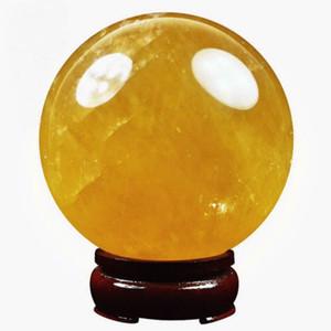 150MM+SAND Natural Citrine Calcite Quartz Crystal Sphere Ball Healing Gemston