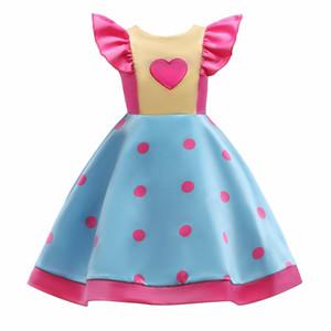 Summer Girl Dress Vente Chaude Arc Design Sans Manches Amour Coeur Imprimer Sweat Patchwork Couleur Robes Filles Vêtements D'enfant
