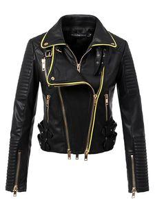 2018 Новые Женщины Мотоцикл Biker Faux Кожаные Куртки и Пальто Леди Slim Fit Ударный Воротник Улавная Одежда Верхняя Одежда Высокое Качество