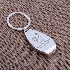 Пакет из 100 персонализированных металлических брелок брелок для ключей открывалки для пивных бутылок персонализированные свадьбы выгравированы брелок подарки для гостей с коробкой
