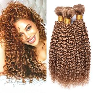 Brasileño Miel Rubio Cabello humano 3 paquetes Kinky Curly Malaysian Peruvian 27 # Pure Color Curly Virgin Human Armadura del pelo humano Extensiones