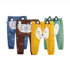 Bebek Erkek Pantolon Karikatür Baskı Örme Pamuk PP Pantolon Yürüyor Kızlar Tayt Sıcak İlkbahar / Sonbahar Pantolon Yeni Doğan Bebek Pantolon