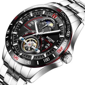 BOYZHE wengle Nuovi orologi meccanici Uomini automatici Cinturino impermeabile in acciaio impermeabile Luminoso Tourbillon Prospettiva orologio automatico da finestra