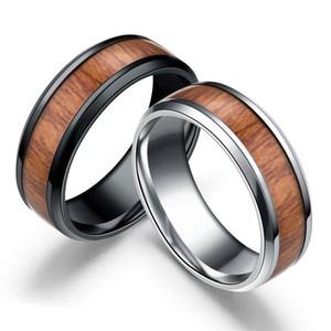8MM en acier inoxydable mosaïque pour hommes bois grain anneaux titane acier anneau en bois pour les femmes bijoux de mode en vrac