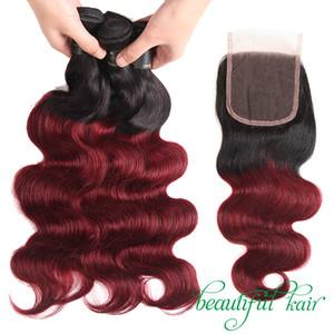 Бургундский бразильский девственница объемная волна / прямые Ombre человеческие волосы с закрытием шнурка 1B / 99J пучки волос с закрытием оптом