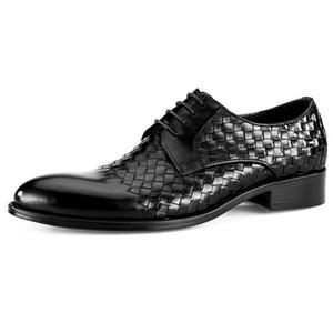 Alta Qualidade Rodada Toe Man Formal Vestido Sapatos De Couro Genuíno Partido Handmade Oxfords Luxo Casamento Dos Homens de Noiva Calçado MG47