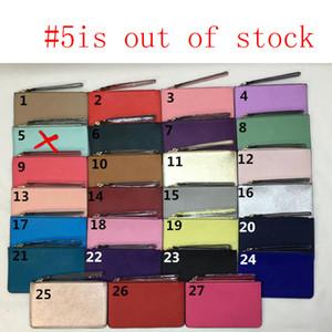 Yepyeni deri bileklik bayan cüzdan 27 renkleri Wristlets fermuar çanta debriyaj cüzdan