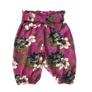 Vieeoease Girls Trousers Floral Kids Pants 2018 Autumn Winter Korean Fashion Casual Corduroy Bow Pants EE-913