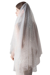 Biçimsel CPA1425 Gelin Gelin Duvağı Ucuz Vintage Beyaz Fildişi Tül Düğün Gelin Veil Dirsek Süresi Bir Katman Olaylar Bling Bling