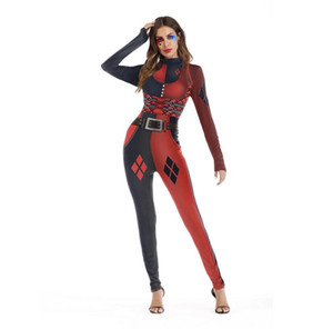 Helloween Cosplay Catsuit Costumes Women Festival T-shirt nera con stampa patchwork rossa