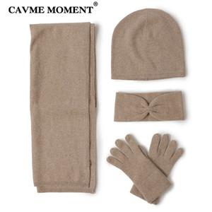CAVME Kaşmir Eşarp Skullies Eldiven Seti Bayanlar için 4 Adet Örgü Kaşmir Kış kadın Eşarp Şapka Eldiven Kafa Düz Renk