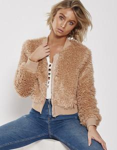 2018090607 Khaki shaggy splice women baseball jacket streetwear Autumn winter warm plush teddy coat Female plus size overcoat