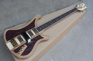 4 Strings Electric Bass 기타 (조각 패턴, 골든 하드웨어, 화이트 바인딩, 4 픽업, 맞춤형 제공)