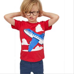 Boys Girls T-shirts Short Sleeve Boy T Shirt Tops Summer Kids T Shirts Aircraft Baby Clothes Birthday Gift boy Red Top