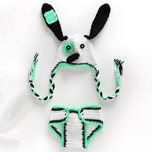Nouveau-né chiot nouveauté tenues, tricoté à la main au Crochet bébé garçon fille Animal Dog Beanie et couche couverture Set, Infant Halloween Photo Prop