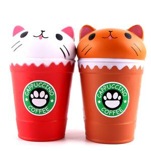 커피 컵 Squsihy Jumbo Cat Gags 실용적인 장난감 완만 한 성장