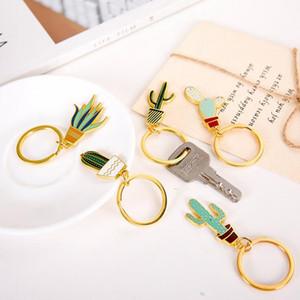 Portachiavi Cactus in vaso di pianta in vaso - Portachiavi in oro colore carino portachiavi - Ciondolo gioielli per donne