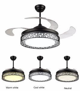 Modern Ceiling Fan Ventilador 110v 220v 42inch Living Room Ceiling Fans with Lights Acrylic Leaf Led Ceiling Fan Light Kit Remote Control