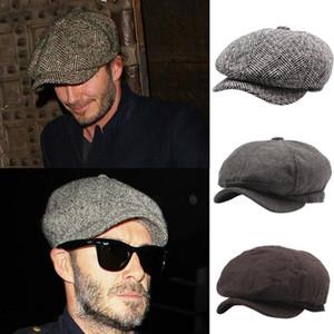 Cappellini di newsboy di autunno inverno Beckham per gli uomini di hip-hop della via di modo degli uomini cappucci di snapback