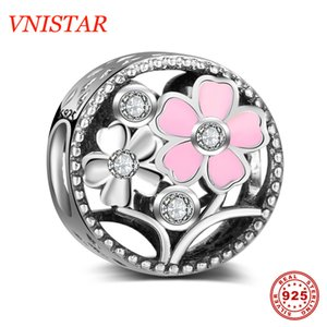 VNISTAR 100% Real 925 Antique Silver Pink Flower CZ Beads DIY European Bead Charms Spring Flower Jewelry Charms Wholesale