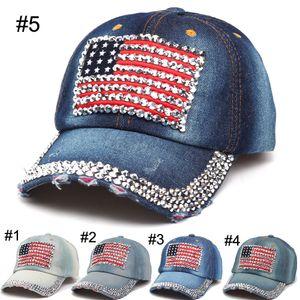 2016 Gorras de béisbol de las mujeres Verano 4 de julio Sombrero de la bandera americana Vaquero Moda Rhinestone de mezclilla Cap 6 Paneles Snapback Leisure Sun Hat