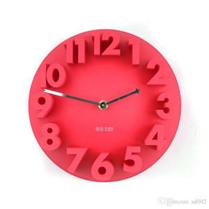 Exquisite 3d digital orologio al quarzo quattro colori stereo circolare forma ad arco orologio muto appeso a parete sveglie multi colori 22hl y