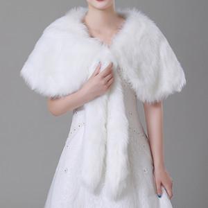 Marfil de invierno de imitación de piel nupcial abrigo Chal Coat Soft Warmer Shrug Cape Wrap Jacket accesorios para el banquete de boda cpa1497