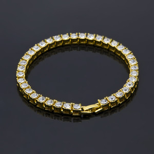 Mens Iced Out 1 Row Rhinestones Joyas de Hip Hop para hombres Bling Bling Clear Simulated Gold Chain Diamond Bracelet