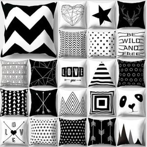 Taie d'oreiller motif noir et blanc Taie d'oreiller en coton imprimé 18x18 pouces Géométrie Euro Couvre-oreillers