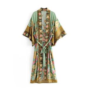boho цветочный принт старинные этнические chic bat рукавом свободные кимоно платья женщин V шеи лето Сплит макси платье 2018 vestidos#N188