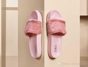PUMA Rihanna Leadcat Fenty moda Color Chinelo Faux Fur Borgoña Deslice Zapatillas Sandalias Rosa Roxo Interior