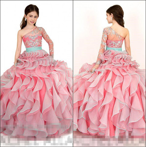 Элегантная одно плеча органзы бального платья девушки Pageant платье оборки Кристал бисер Длина пол День рождения девочки Платья RA1572
