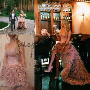 Erröten Rosa Asymmetrische Rock Korsett Dusty Rose Hochzeitskleid 2018 Modest Zuhair Murad Liebsten High Low Feder Blume Prinzessin Brautkleid