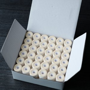 144pcs 110m long White color Cardboard Type L Size White Prewound Bobbin Thread Polyester Machine underthread 75D 2