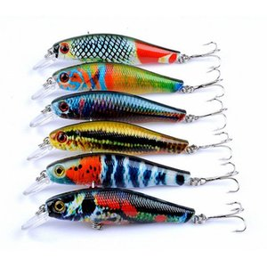 6 Pcs lot Lifelike Fishing Lures Set Mixed 6 Colors Minnow Lure Bait Fishing Baits Bass Tackle Swimbait Crankbaits Free Shipping