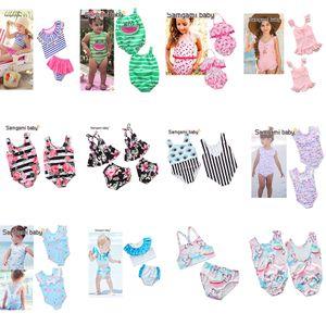 12 стили Единорог детские купальник фламинго купальные костюмы цветочный принт купальники высокой талией слинг из двух частей пляжная одежда One piece бикини 2-6Т