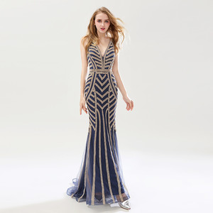 Real Image 2019 Navy Blue Beading Mermaid Evening Dresses Sexy Tulle V-Neck Long Women Important Party Dress Luxury Prom Gowns OL476