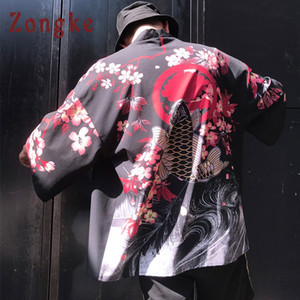 Zongke Floral Kimono Cardigan Men Long Carp e Cherry Print Kimono Cardigan Men Japanese Traditional 2018 Summer New