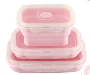 Pembe / Mavi Üç adet Katlanır gıda sınıfı silikon Mikrodalga öğle yemeği kutusu Buzdolabı saklama kutusu Mühürlü taze Yüksek sıcaklık dayanımı
