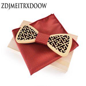 Wood Elegant Gentleman Bow Ties Handmade Butterfly Wedding Party Pajaritas Mariposa de madera Unique Tie for Man Pocket square Set