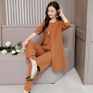 L-5XL 2018 Women 3 Pieces Sets Ladies Loose Tops Long Pants Suits Fashion High Quality Plus Size Loose work office Suit Woman