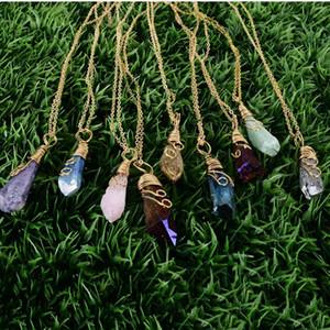 bijoux faits à la main arc-en-fil Enveloppé cru pierre naturelle Femmes Pendentif Collier Améthyste Rose Quartz Cristal Gem Colliers