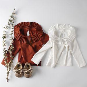 Bebê Girt roupas T camisa de Manga Longa Ruffles Collar cor sólida T-shirt para o Outono bebê Vestir 100% algodão boneca gola camisa