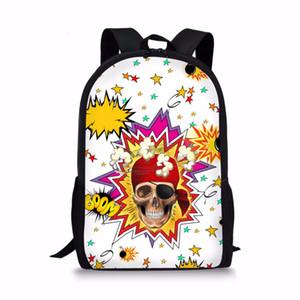 십대 소녀 소년 새로운 도착 다채로운 해골 프린트 가방에 대한 Coloranimal 어린이 키즈 패션 학교 배낭 학교 가방