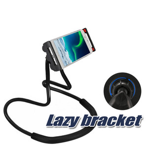 Soporte perezoso Universal Cell Phone Holder Lazy Hanging Neck Phone Stands DIY Soporte giratorio libre con Multiple Function Opp Package